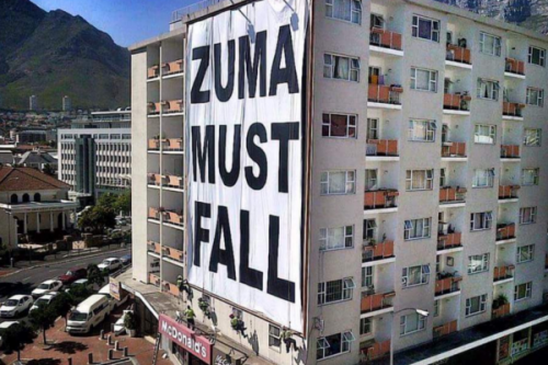 """Zuma Must Fall"" banner is illegal: city"